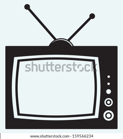 Retro TV isolated on blue background - stock vector