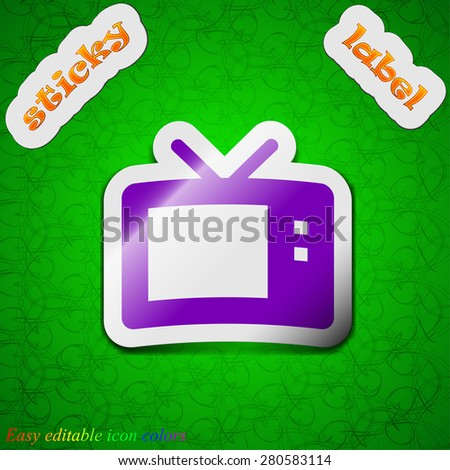 Retro TV mode  icon sign. Symbol chic colored sticky label on green background. Vector illustration - stock vector