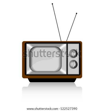 Retro TV set isolated on white, vector illustration - stock vector