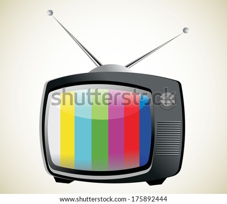 Retro TV with color frame - stock vector