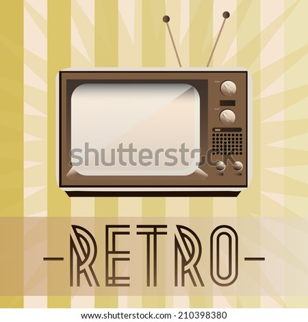 Retro TV with old fashioned background - stock vector