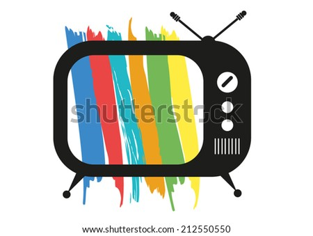 Retro TV with stylized color bars test pattern  - stock vector
