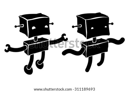 Retro two funny Robots vector illustration
