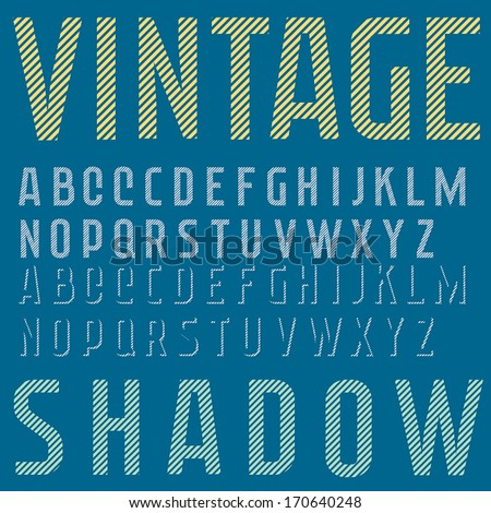 Retro type font, vintage typography, diagonal lines, shadow See my portfolio for more variations of this typeface - stock vector