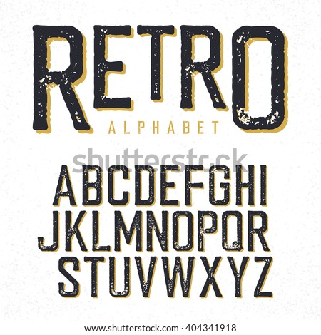 Retro typeface. Stamped alphabet, shadowed. Isolated on white - stock vector
