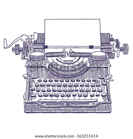Retro typewriter vector drawing - stock vector