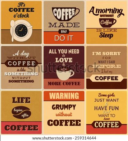 Retro Typographic Coffee Themed Poster Design Set - stock vector