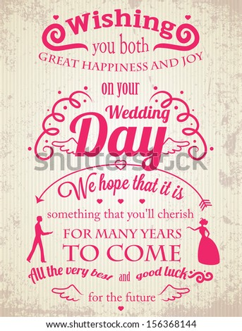 Retro typographic greeting card for the Wedding Day. EPS10, transparency  - stock vector
