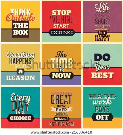 Retro Typographic Poster Design Set - stock vector
