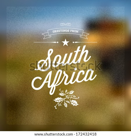 "Retro Typographical, Vintage Touristic Greeting label on blurry background ""Greetings from South Africa"", Vector design. - stock vector"