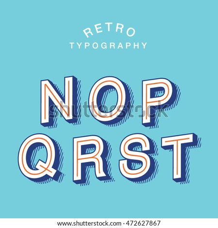 retro typography/ alphabet vector