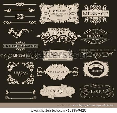 Retro typography, calligraphic design elements, page decoration, label - stock vector