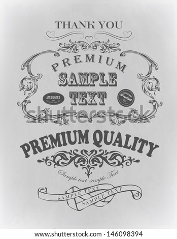 Retro typography, calligraphic design elements, page decoration/ Vintage Frame