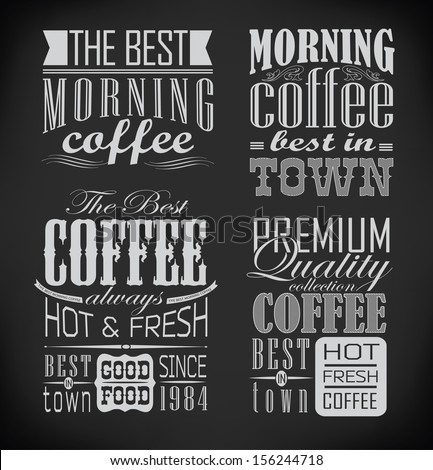 Retro typography, coffee shop, cafe, menu design elements, restaurant elements drawing with chalk on blackboard - stock vector