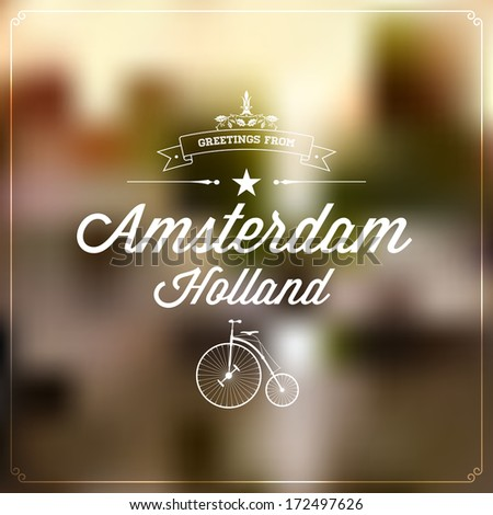 Retro typography vintage touristic greeting label stock vector 2018 retro typography vintage touristic greeting label on blurry background greetings from amsterdam holland m4hsunfo
