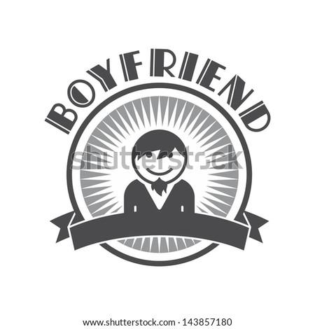 retro user picture - boyfriend - stock vector