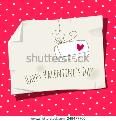 Retro Valentine day card, love letter vector illustration. Heart symbol. - stock vector