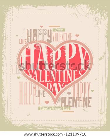 Retro Valentine greeting card design EPS 10 - stock vector