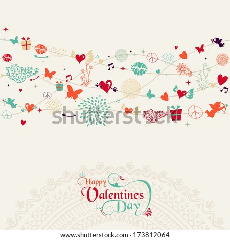 Retro Valentines day greeting card colorful elements seamless pattern banner. EPS10 vector file organized in layers for easy editing. - stock vector