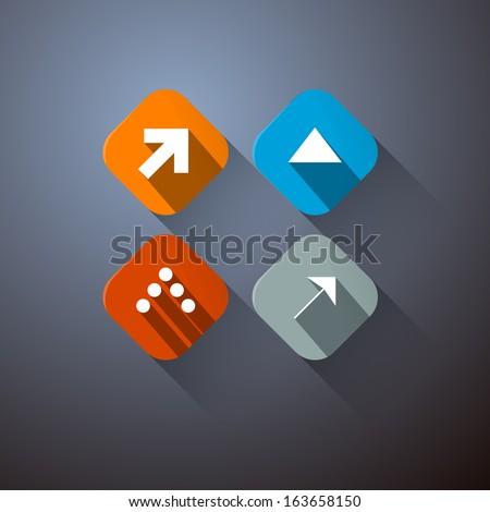 Retro Vector Arrows Set on Dark Background  - stock vector