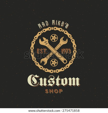 Retro Vector Bicycle Custom Shop Label or Logo Template with Shabby Texture. Good for T-shirts, Prints, Flayers, etc. - stock vector