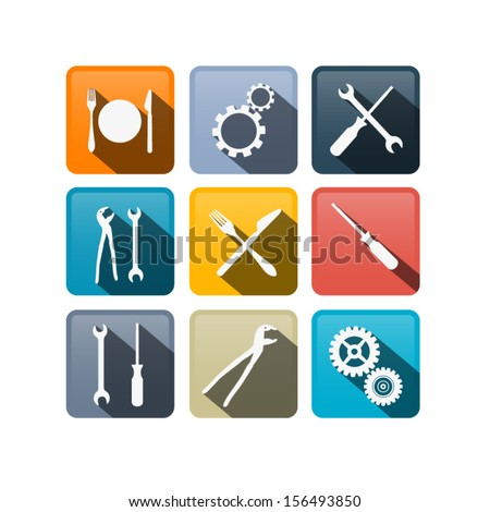 Retro Vector Buttons: Cogs, Gears, Screwdriver, Pincers, Spanner, Hand Wrench Tools, Knife, Fork - stock vector