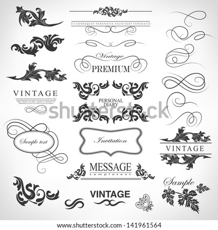 Retro vector calligraphic design elements, page decoration and labels set