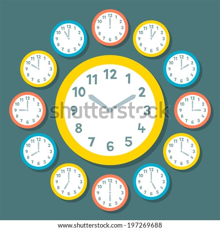 Retro Vector Clocks Showing All 12 Hours - stock vector