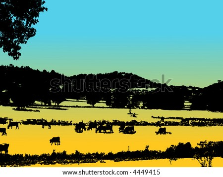 retro vector farm view with trees and cows - stock vector
