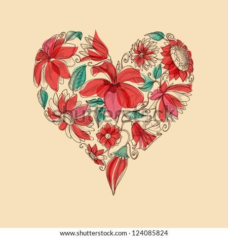 Retro vector heart of flowers love symbol - stock vector