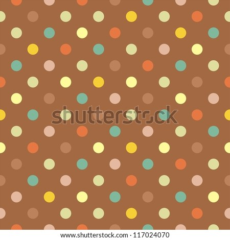 Retro vector seamless pattern, background or texture with blue, yellow, green and red polka dots on neutral brown background for web design, party or thanksgiving invitations and christmas cards. - stock vector