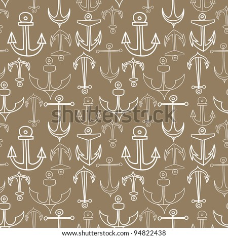 Retro vector seamless pattern with anchors