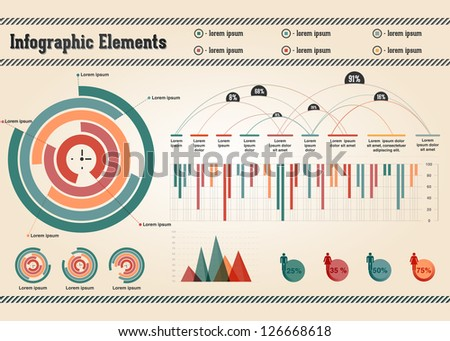 Retro Vector Set of Infographic Elements for your documents - stock vector