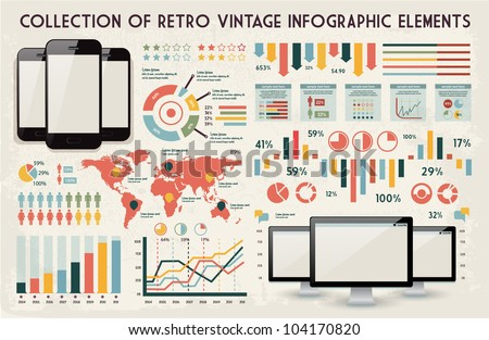 retro vector set of infographic elements for your documents and reports with glossy touchscreen mobile phone and monitor screens - stock vector