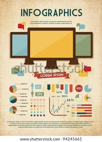 retro vector set of infographic elements for your documents and reports with three touchscreen devices