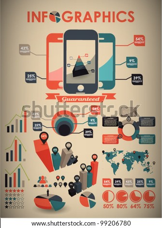retro vector set of infographic elements for your documents and reports with three touchscreen mobile phone devices