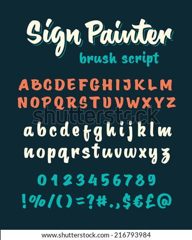Retro vector 'sign painter' brush script lettering font, handwritten calligraphic alphabet - stock vector