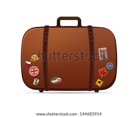 Retro vector suitcase with stickers on it isolated on white - stock vector