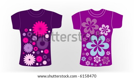 retro vector t-shirt with flower design - stock vector