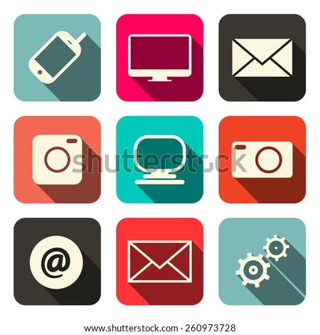 Retro Vector Technology Internet Communication Icons Set  - stock vector