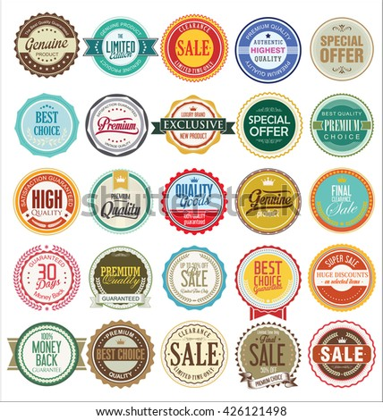 Retro vintage badges and labels collection - stock vector