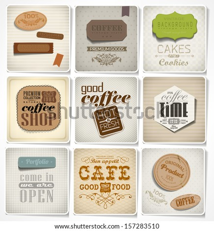 Retro vintage bakery labels and typography card, coffee shop, cafe, menu design elements, calligraphic - stock vector