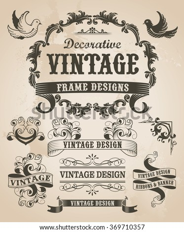 Retro vintage banner and ribbon set. Vector illustration design elements with textured background.