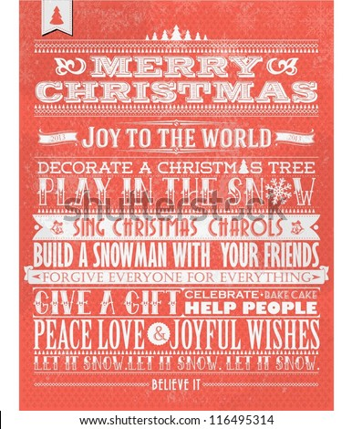 Retro Vintage Christmas Background With Typography - stock vector
