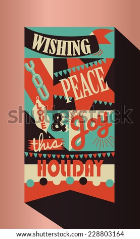 Retro Vintage Christmas Greeting - stock vector