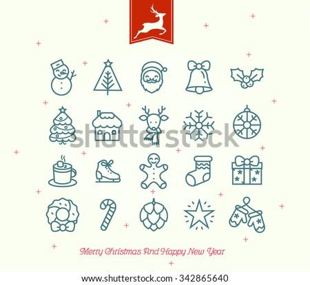 Retro Vintage Christmas Icon Bundle - stock vector