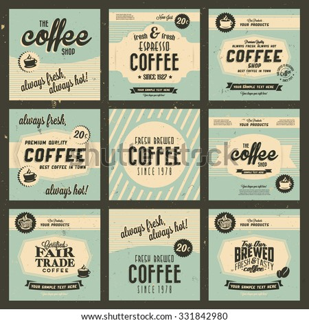 Retro Vintage Coffee Background Collection for Greeting Card, Poster, Label and Other Decoration Surface with Typographic Elements