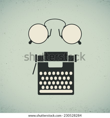Retro vintage collage of a typewriter and eyeglasses - stock vector