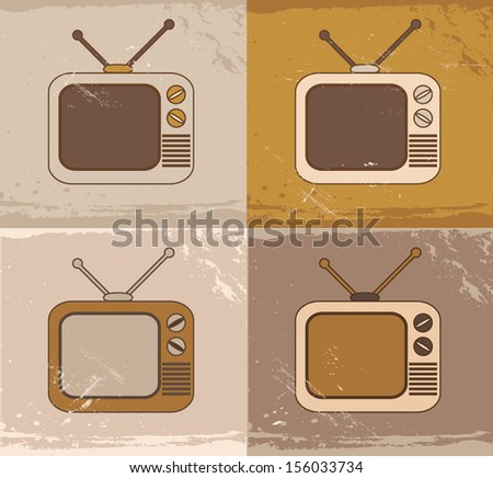 Retro vintage colorful technology TV set icons - stock vector