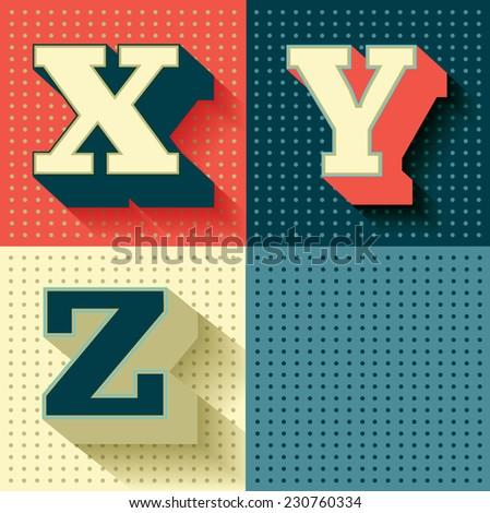 retro/vintage font/typeface vector/illustration X,Y,Z - stock vector